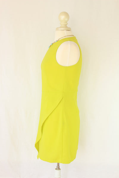 Asymmetric Bottom Dress in Lime