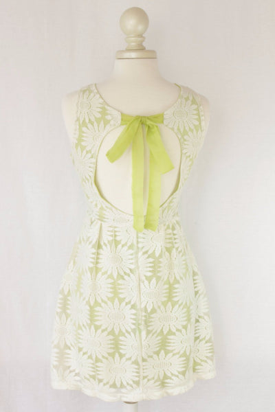 Lime Green Lace Dress with Cutout Tie Back