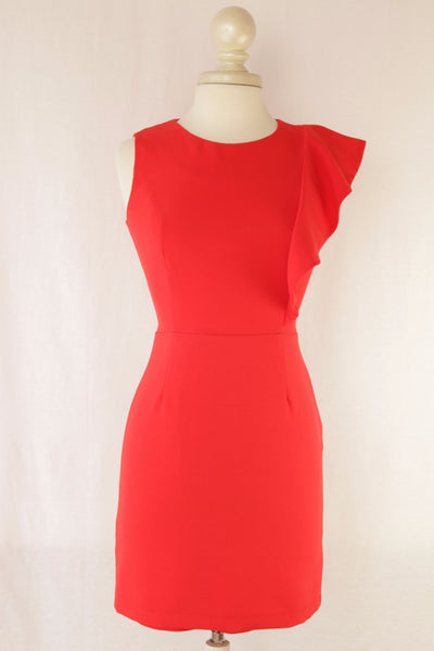 Red Sleeveless Sheath with Ruffle Sleeve