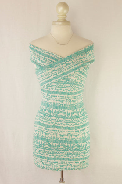 Off the Shoulder Printed Bodycon Dress in Turquoise