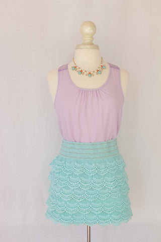 Aqua Ruffle Mini Skirt