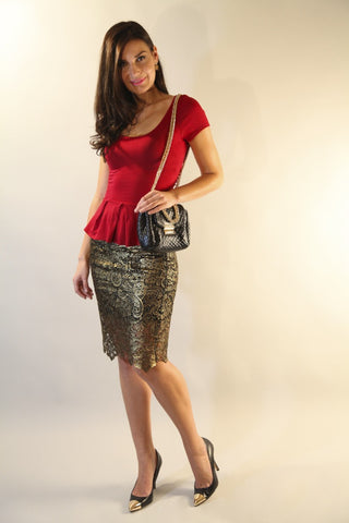 Gilded Lace Pencil Skirt