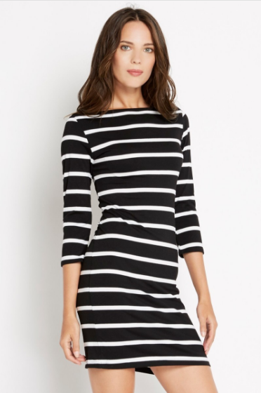 Black and White Striped 3/4 Sleeve Dress