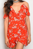 Red Floral Wrap Dress with Flutter Sleeve