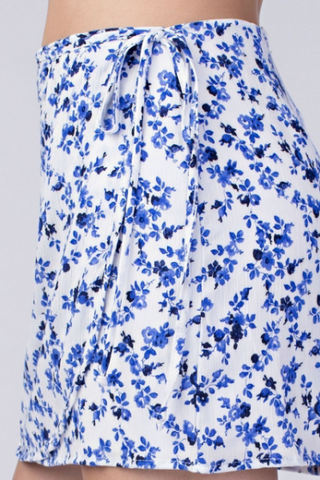 Blue Floral Wrap skirt