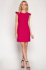 Pink Sheath Dress with Ruffle Sleeve