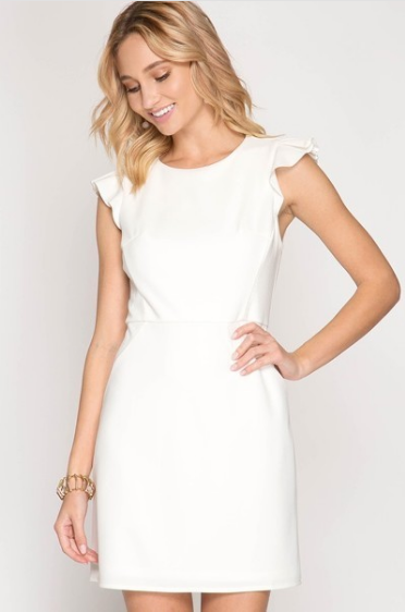 White Sheath Dress with Ruffle Sleeve