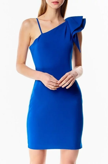 Blue Ruffle Sleeve Dress