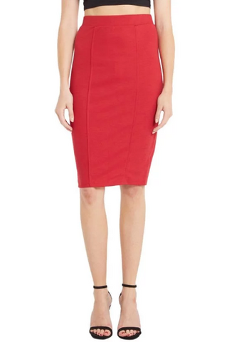 Red Stretch Knit Pencil Skirt