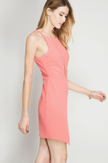 Asymmetric Bottom Dress in Coral