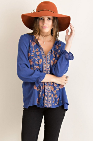 Dark Blue Embroidered Peasant Blouse