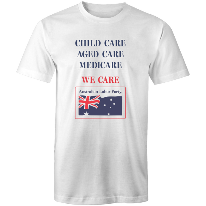 Vintage Labor: 'We Care' ALP Campaign Tee - Unisex (white, grey)