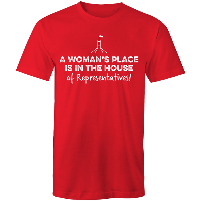 2019: A Woman's Place Tee - Unisex (red/white, white/red, grey/red)