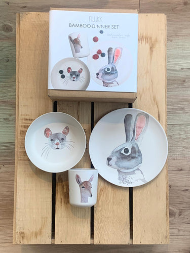 nuuk, Bambus Dinner Set, Rabbit and Friends, 3Teile