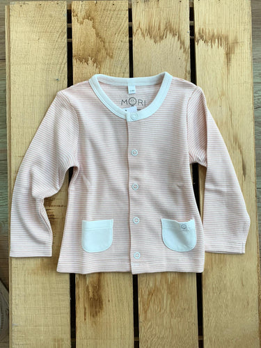 Mori, Strickjacke, Sweat, rosa-weiß gestreift