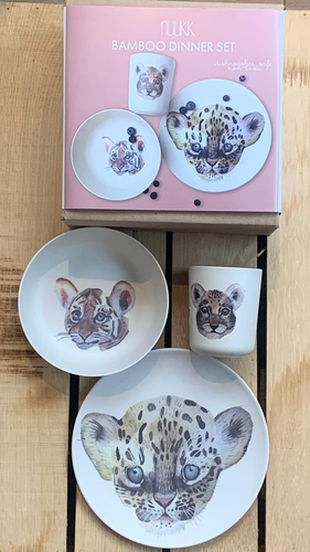 nuuk, Bambus Dinner Set, Leopard and Friends, 3 Teile