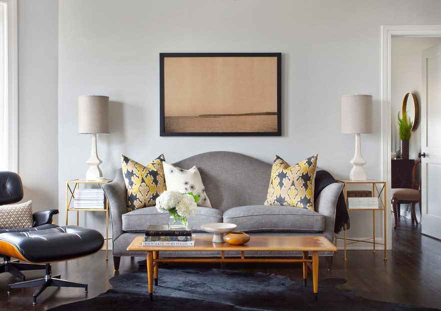 A Classic Neutral Living Room of Grays, Whites, and Yellow