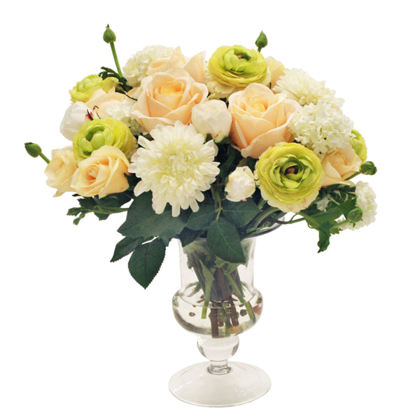 MIXED ROSE AND RANUNCULUS CENTERPIECE IN FOOTED GLASS VASE