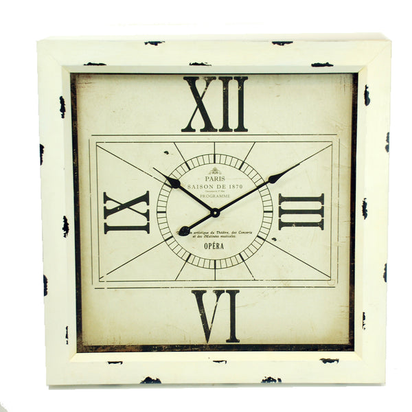 WALL CLOCK SQUARE WITH 4 ROMAN NUMERALS 32""