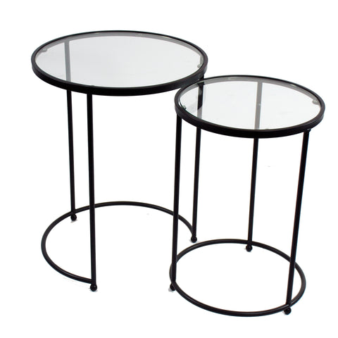 ACCENT TABLES GLASS TOPS SET OF 2