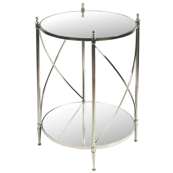 "ROUND ACCENT TABLE WITH MIRROR TOP 28"" TALL"