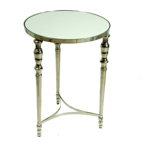 "ROUND 3-LEG ACCENT TABLE MIRROR TOP 22"" TALL"