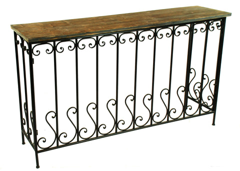 "CONSOLE TABLE IRON RAILING WOOD TOP 55"" WIDE"