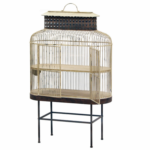 "BIRDCAGE ON METAL STAND 46"" TALL"