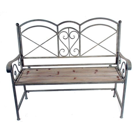 "BENCH WITH METAL FRAME AND WOOD SLAT SEAT 46"" WIDE"