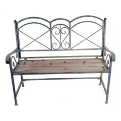 "WOOD AND METAL BENCH 46"" X 17"" X 39"" TAUPE"
