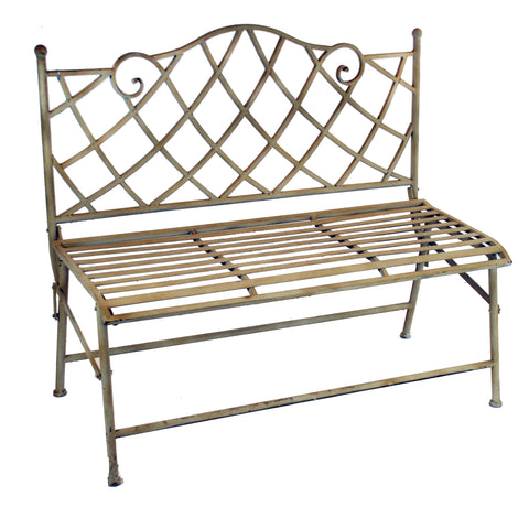 "MONTGOMERY METAL BENCH 41"" WIDE 37"" TALL TAUPE"