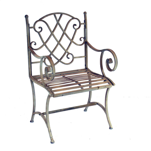 "MONTGOMERY METAL CHAIR 38"" TALL 24"" WIDE TAUPE"