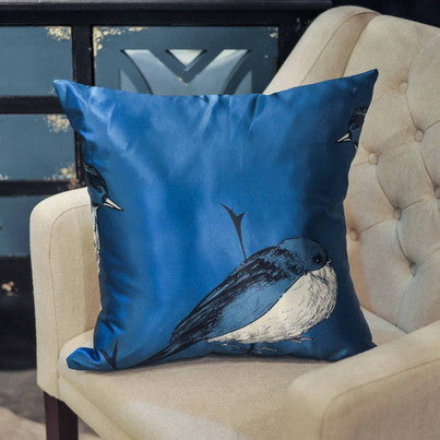 SATIN BIRD PILLOW 18""