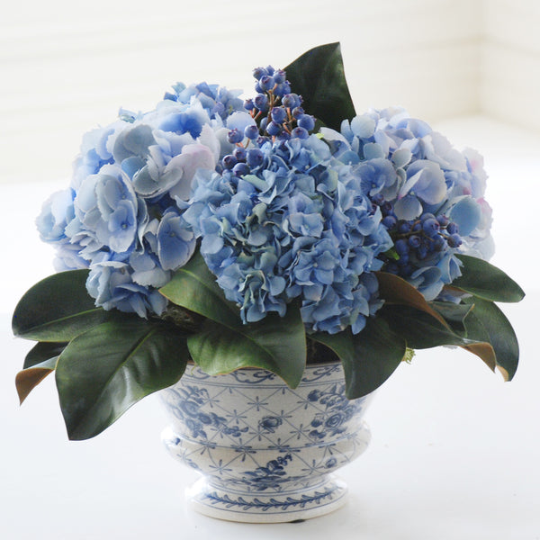 MIXED HYDRANGEA AND BLUEBERRY ARRANGEMENT