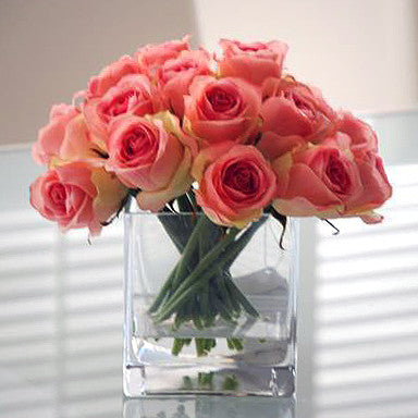 Pink Rose Buds in Square Glass