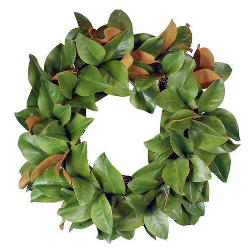 Magnolia Leaf Wreath 24 in. Green