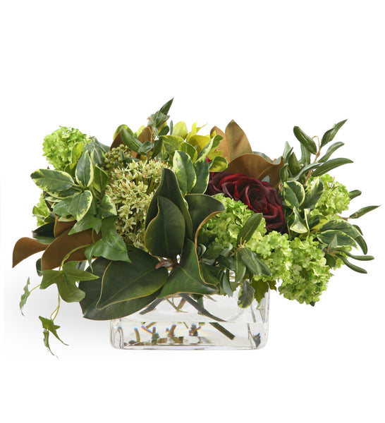 Red Rose and Green Cymbidium Centerpiece