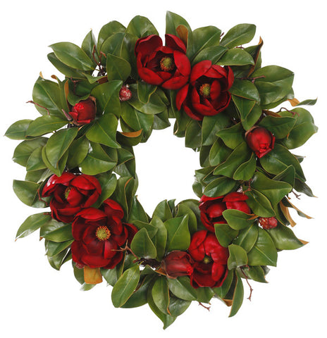 HOLIDAY MAGNOLIA WREATH 30''