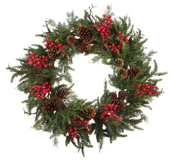 HOLIDAY BERRY/PINE/CONE WREATH 30''