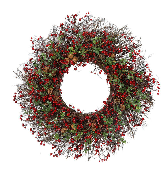BERRY BOXWOOD WREATH 24''