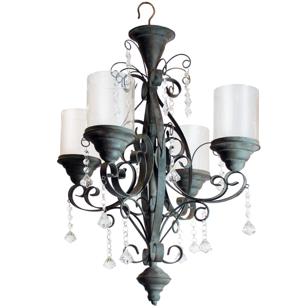 "METAL CANDLE CHANDELIER 20X20X30"" BROWN"