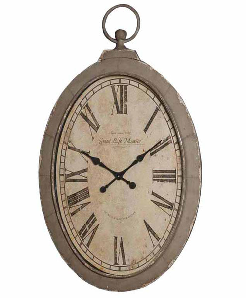 "WALL CLOCK MOCCA DISTRESSED NOUVEAU 49"" TALL"