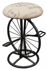 "RUSTIC BICYCLE STOOL WITH PADDED SEAT 21"" HIGH"