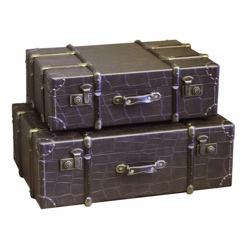 FAUX CROCO LEATHER SUITCASES