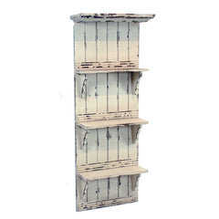 "WOODEN SHELF WALL UNIT 18"" WIDE 48"" TALL DISTRESSED CREAM COLOR"