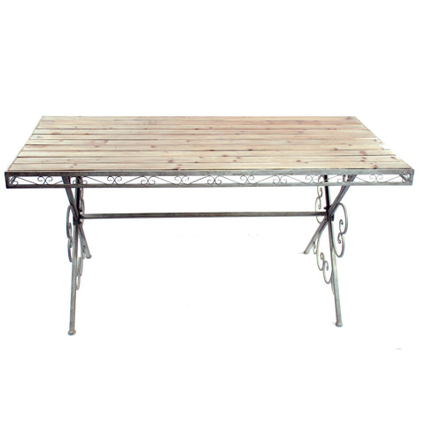 "WOOD TABLE WITH METAL LEGS 63"" WIDE WHITEWASHED"