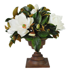 "Magnolias In Classic Brown Urn 25"" Tall"