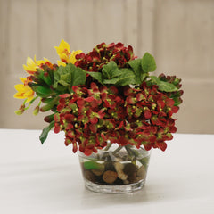 SUCCULENT AND HYDRANGEAS IN GLASS VASE