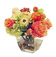 ROSES RANUNCULUS AND HYDRANGEAS IN SQUARE GLASS VASE