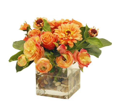 ZINNIAS ROSES AND RANUNCULUS IN SQUARE GLASS VASE 13""